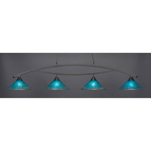 Bow Dark Granite Billiard Light with Teal Crystal Glass