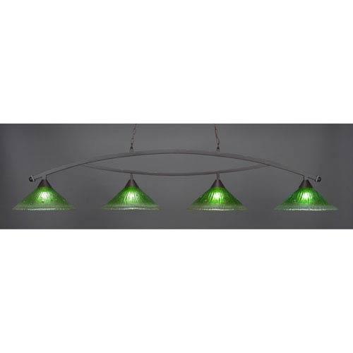 Bow Dark Granite Billiard Light with Kiwi Green Crystal Glass