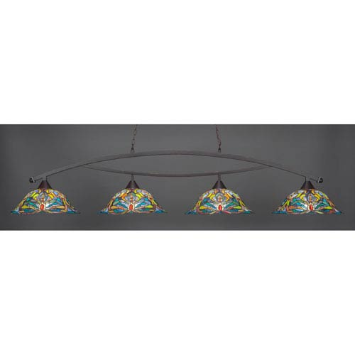 Bow Dark Granite Billiard Light with Kaleidoscope Tiffany Glass