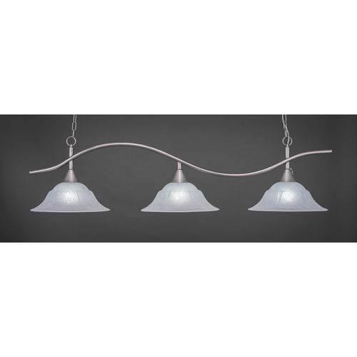 Toltec Lighting Swoop Brushed Nickel Three-Light Island Pendant with 16-Inch White Marble Glass Shades