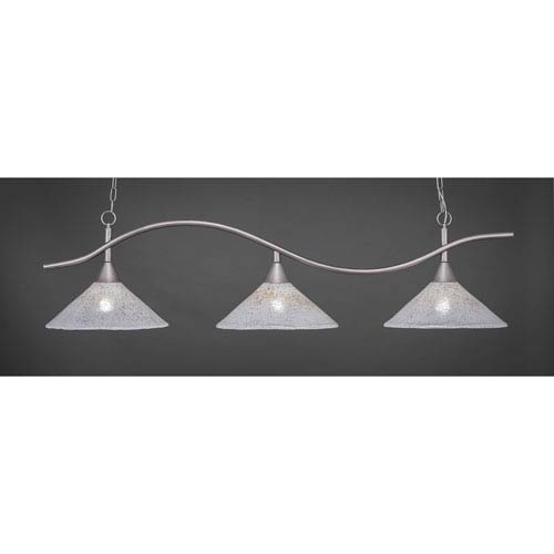 Toltec Lighting Swoop Brushed Nickel Three-Light Island Pendant with 16-Inch Gold Ice Glass Shades