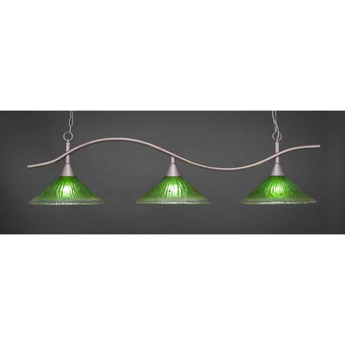 Toltec Lighting Swoop Brushed Nickel Three-Light Island Pendant with 16-Inch Kiwi Green Crystal Glass Shades