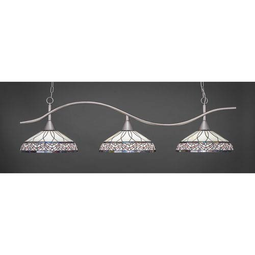 Toltec Lighting Swoop Brushed Nickel Three-Light Island Pendant with 16-Inch Royal Merlot Tiffany Glass