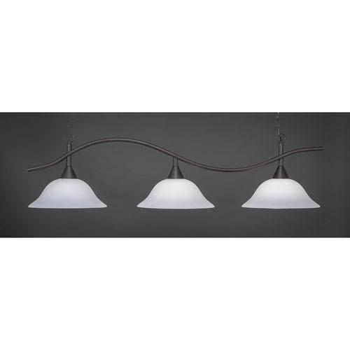 Swoop Dark Granite Billiard Light with White Linen Glass