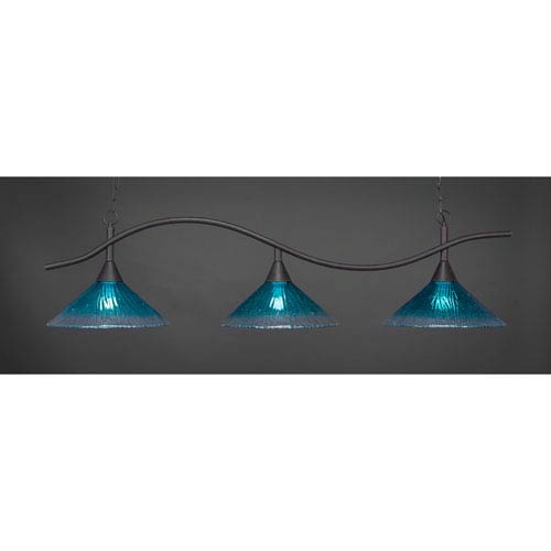 Swoop Dark Granite Billiard Light with Teal Crystal Glass