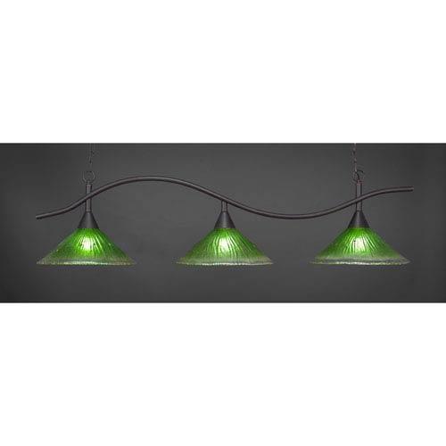 Swoop Dark Granite Billiard Light with Kiwi Green Crystal Glass
