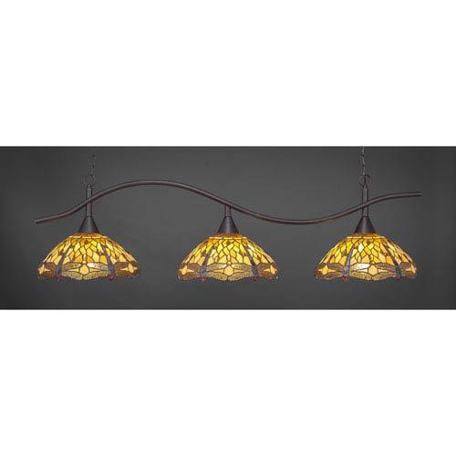 Swoop Dark Granite Billiard Light with Amber Dragonfly Tiffany Glass