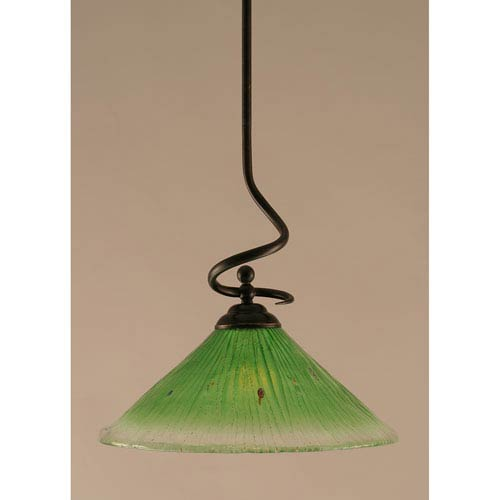 Toltec Lighting Capri Dark Granite One-Light Stem Pendant w/ 16-Inch Kiwi Green Crystal Glass