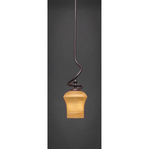 Toltec Lighting Capri Dark Granite One-Light Pendant with Cayenne Linen Glass