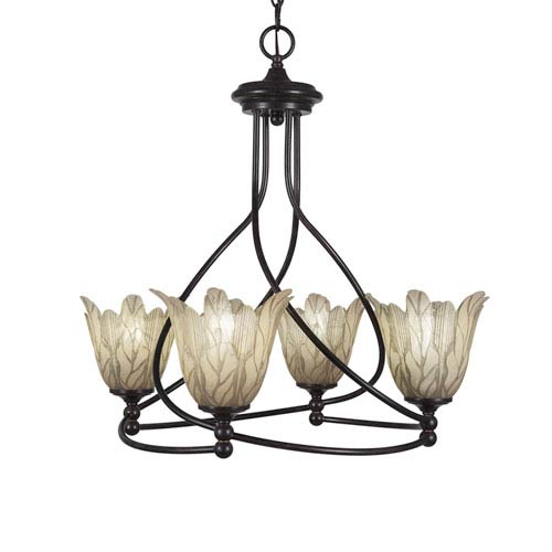 Capri Dark Granite Four-Light 23-Inch Chandelier with 7-Inch Vanilla Leaf Glass