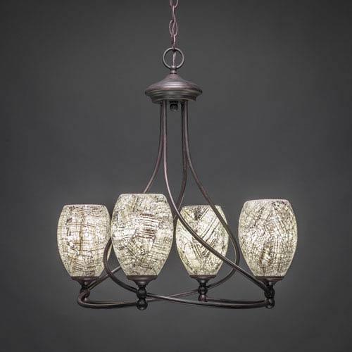 Capri Dark Granite Four-Light Chandelier with Natural Fusion Glass