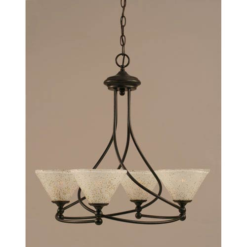 Toltec Lighting Capri Dark Granite Four-Light Chandelier w/ 7-Inch Gold Ice Glass