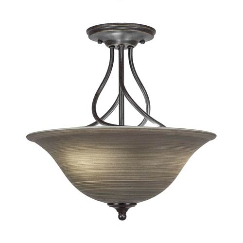 Capri Dark Granite Three-Light Semi-Flush with 16-Inch Gray Linen Glass