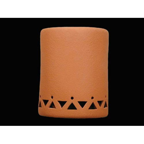 Terracotta 9-Inch Wall Sconce with Tribal Drum Border Design