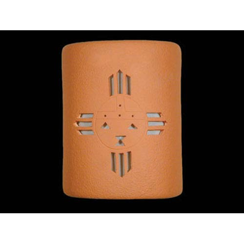 Terracotta 9-Inch Wall Sconce with Sunface Center Cutout Design