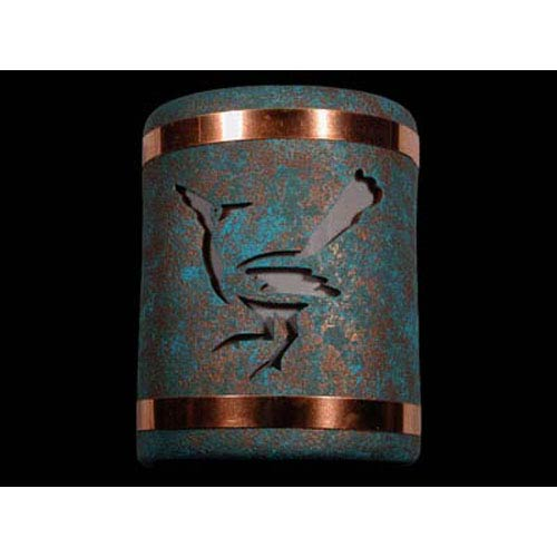 Raw Turquoise 9-Inch Dark Sky Outdoor Wall Mount with Roadrunner Center Cutout Design