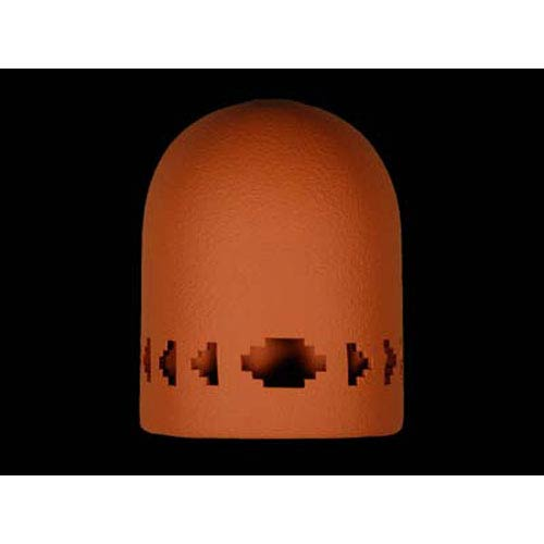 Terracotta 9-Inch Hood Dark Sky Wall Sconce with Southwest Side Steps Border Cutout Design