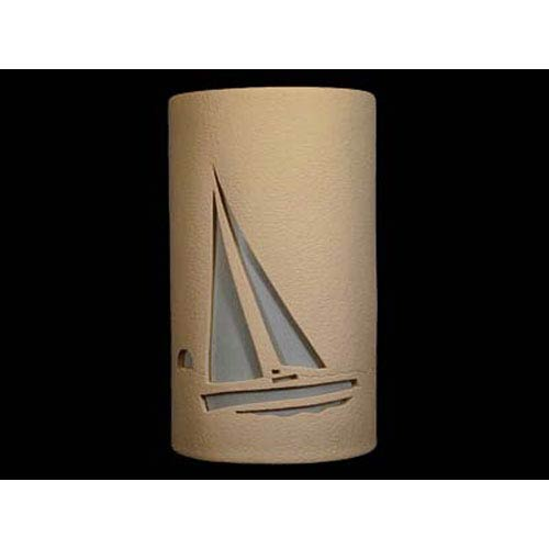 Tan 14-Inch Dark Sky Outdoor Wall Mount with Sailboat Cutout Design