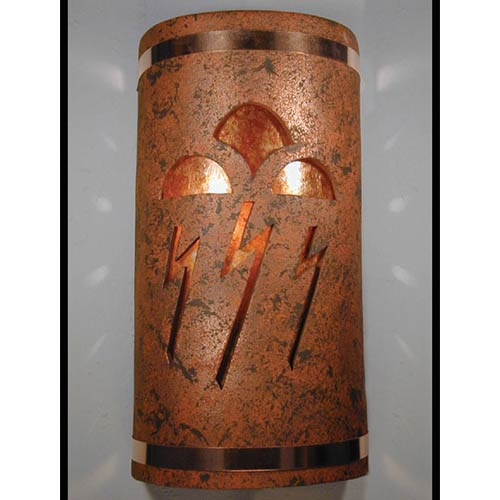 CDS Lighting Studio Copper Brick One-Light 14-Inch Tall Outdoor Wall Sconce with Storm Cloud Center Cut Design
