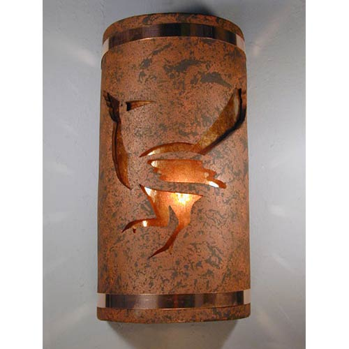 CDS Lighting Studio Copper Brick One-Light 14-Inch Tall Outdoor Wall Sconce with Roadrunner Center Cut Design