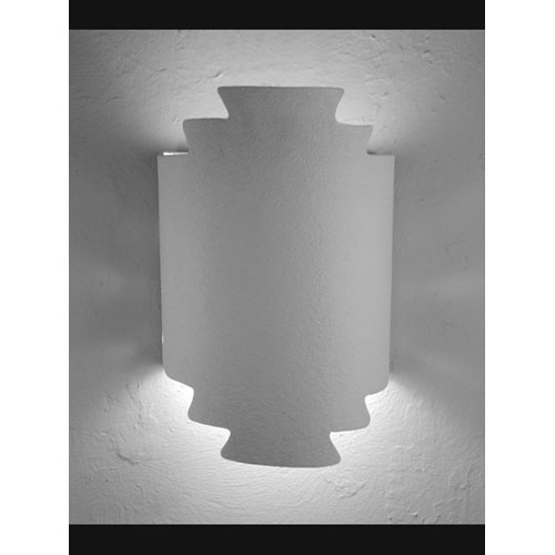 CDS Lighting Studio Unfinished Bisque Zig Zag Handcut Double Terior Socket Wall Sconce