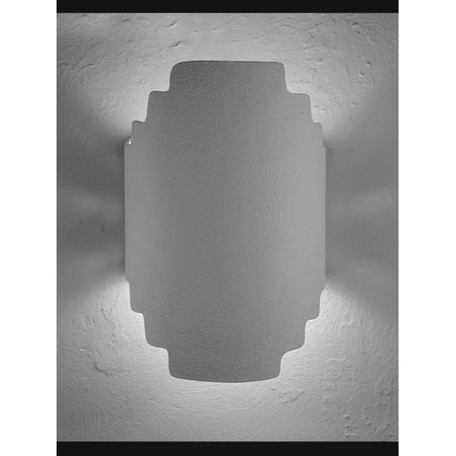 Unfinished Bisque Stairstep Double Terior Socket Handcut Wall Sconce