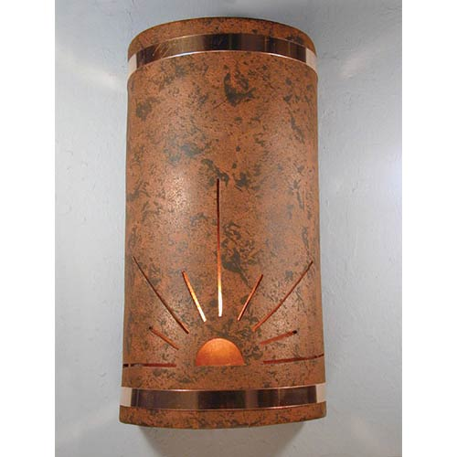 Copper Brick One-Light 17-Inch Tall Outdoor Wall Sconce with Sunrise Center Cut Design