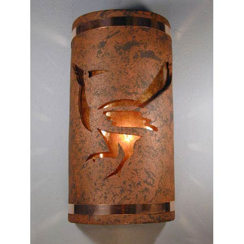 Copper Brick One-Light 17-Inch Tall Outdoor Wall Sconce with Roadrunner Center Cut Design