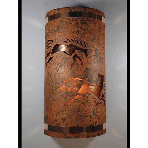 Copper Brick One-Light 17-Inch Tall Outdoor Wall Sconce with Wild Horses Center Cut Design
