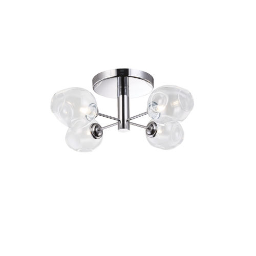 Abii Polished Chrome with Clear Four-Light Semi-Flush Mount