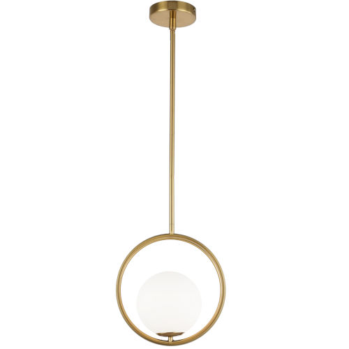 Adrienna Aged Brass with White One-Light Pendant