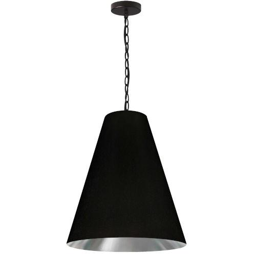 Anaya Matte Black and Silver One-Light Medium Pendant