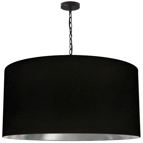 Braxton Black and Silver One-Light XL Pendant with Drum Shade