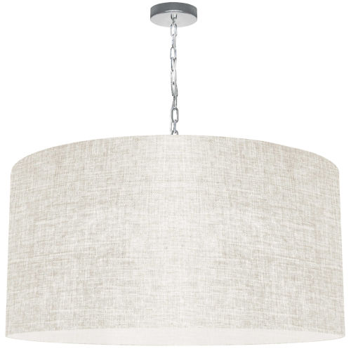Braxton Polished Chrome One-Light XL Pendant with Cream and Clear Shade