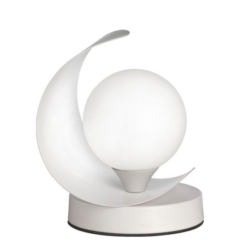 Crescent Matte White One-Light Table Lamp