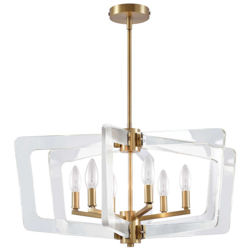 Clearwater Aged Brass with Clear Six-Light Chandelier