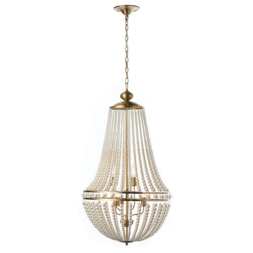 Dawson Pearl White with Aged Brass Six-Light Chandelier