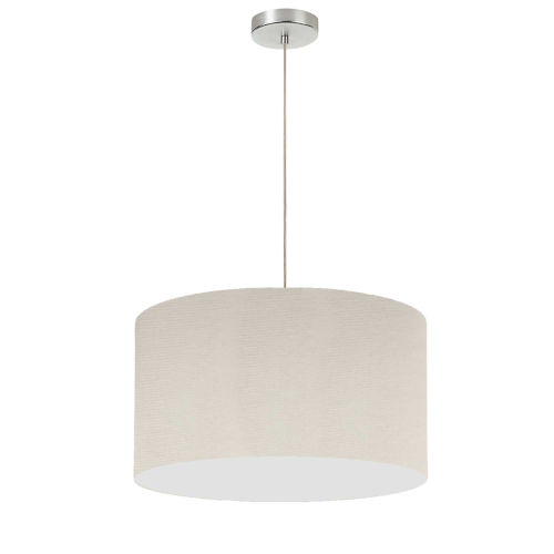 Beige with Polished Chrome 19-Inch One-Light Pendant