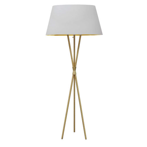 Gabriela Aged Brass with White One-Light Floor Lamp