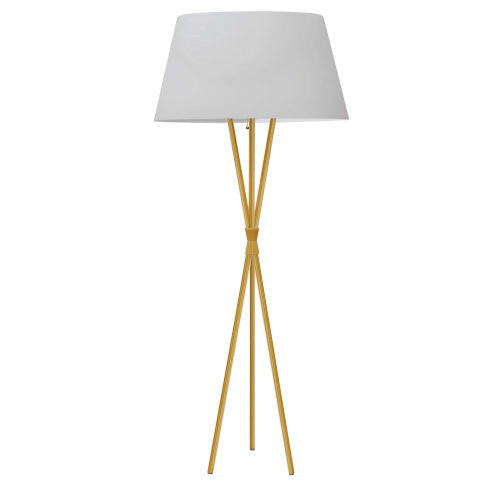 Gabriela Aged Brass and White One-Light Tripod Floor Lamp