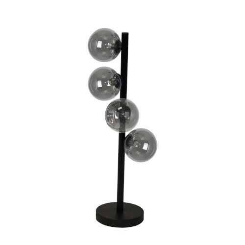 Glasgow Matte Black with Smoke Four-Light Table Lamp