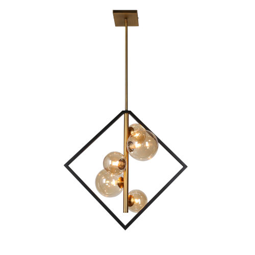 Glasglow Matte Black with Vintage Bronze Five-Light Pendant