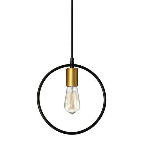Geometric Matte Black with Vintage Bronze One-Light Round Pendant