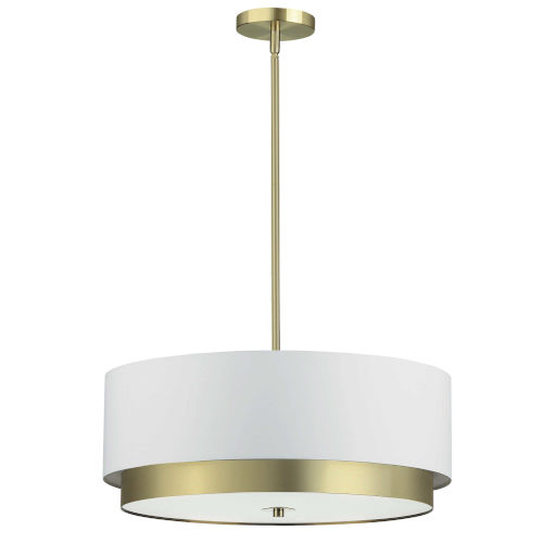 Larkin White with Aged Brass Four-Light Pendant
