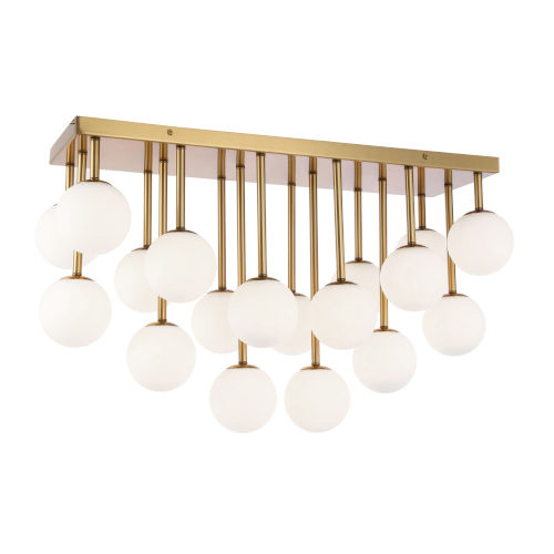 Megallan Aged Brass with Opal 18-Light Flush Mount