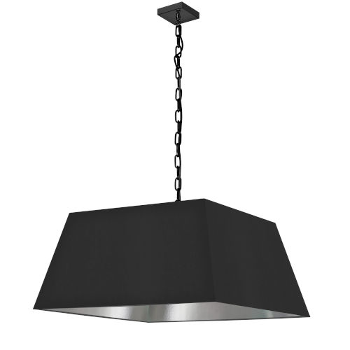 Milano Black and Silver One-Light Large Pendant