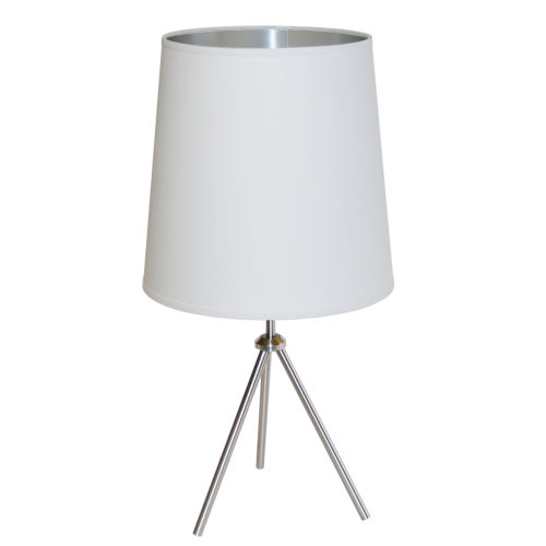 Tripod Satin Chrome 15-Inch One-Light Table Lamp with White Silver Shade