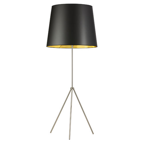 Tripod Satin Chrome with Black Gold One-Light Floor Lamp