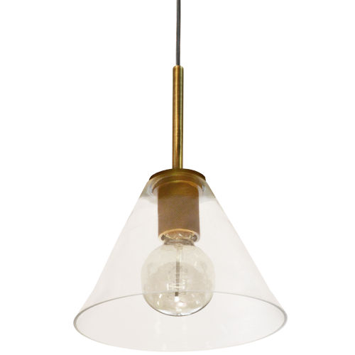 Roswell Aged Brass with Clear One-Light Mini Pendant