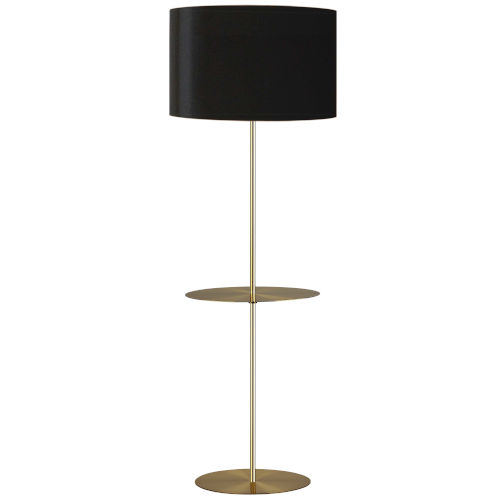 Tablero Aged Brass with Black Gold One-Light Floor Lamp with Round Shelf